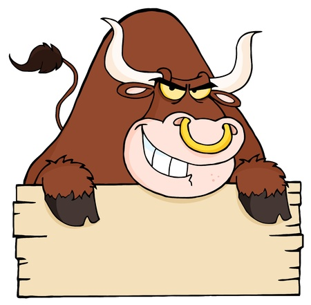 Angry Longhorn Looking Over A Blank Wood Sign Vector