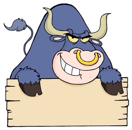 Angry Purple Bull Looking Over A Blank Wood Sign