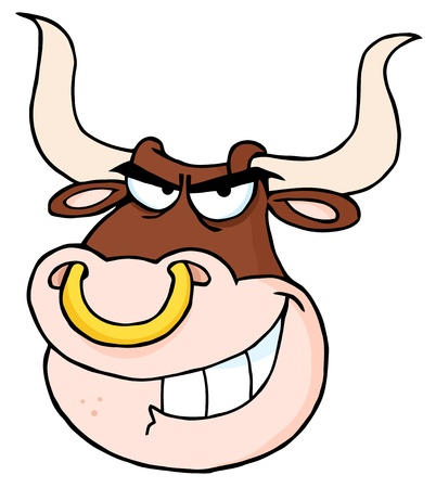Angry Bull Head Cartoon Mascot