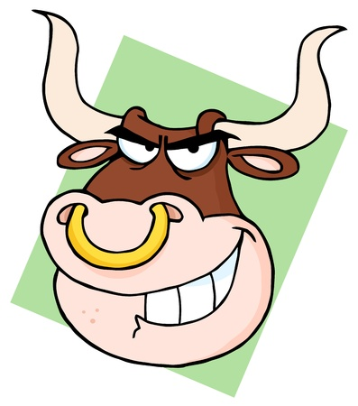 Angry Longhorn Head Cartoon Mascot Stock Vector - 9681488