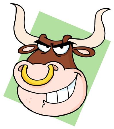 Angry Longhorn Head Cartoon Mascot Vector