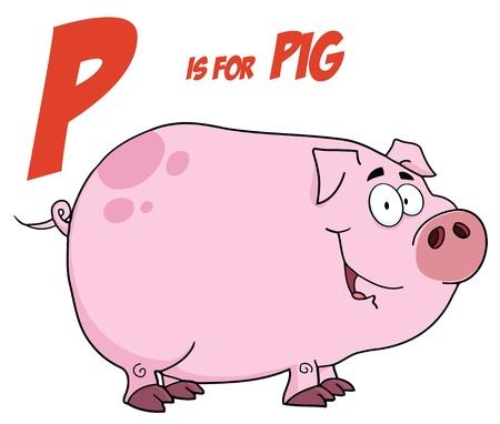 cerdo caricatura: Personaje de dibujos animados de cerdo con la letra p  Vectores