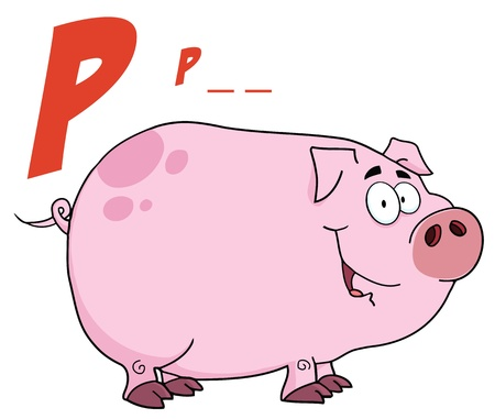 Pig Cartoon Character With Letter P  Vector