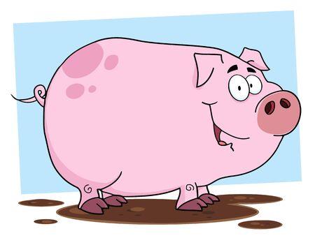 Adorable personnage de dessin animé de porc  Banque d'images - 9681581