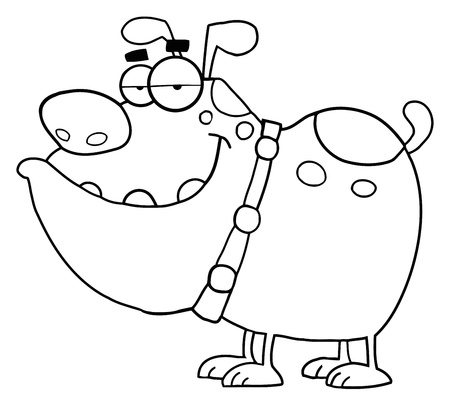 Outlined Dog Cartoon Character Illustration