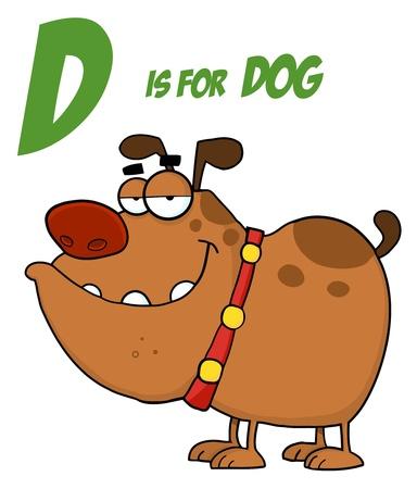 Hond Cartoon karakter met de Letter D  Stock Illustratie