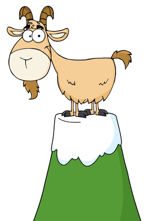 Longhorn の漫画のキャラクター、山のピークの上に