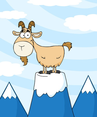 Goat Cartoon Character On Top Of A Mountain Peak  Illustration