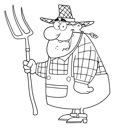 Outlined Farmer Man Carrying A Rake
