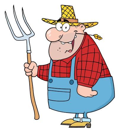 Lucky Man de agricultores con un rastrillo