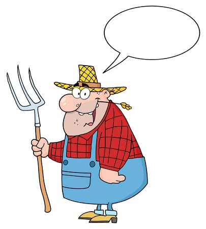 Happy Farmer Man Carrying A Rake With Speech Bubble