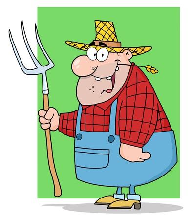 Happy Farmer Man Carrying A Rake  Illustration