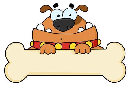 Perro marrón sobre una señal de hueso en blanco