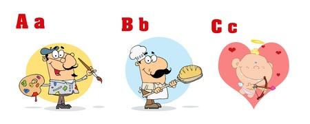 ABC Funny Cartoon Alphabet  Vector