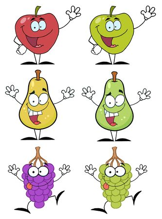 Fruits Cartoon Characters Raster Collection Stock Vector - 9789359