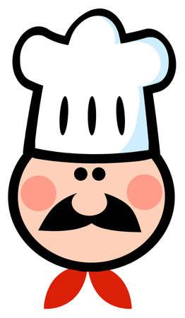 Chef Man Face Cartoon Mascot  Vector