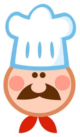 Cartoon Chef Man Face Mascot  Vector