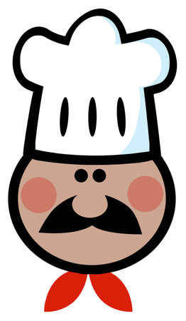 African American Chef Man Face Cartoon Mascot  Vector