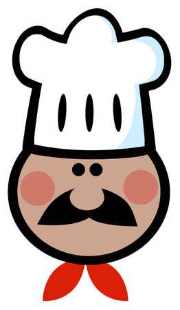 African American Chef Man Face Cartoon Mascot  Vector