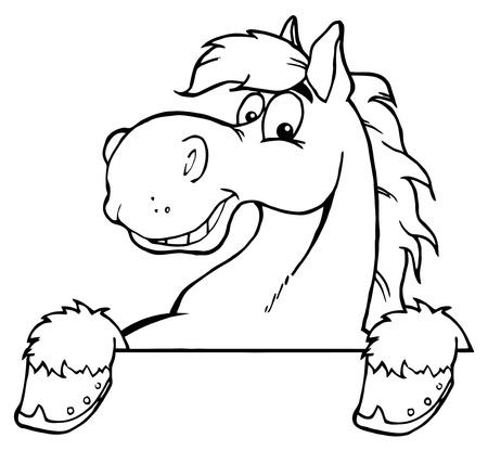 Outlined Horse Mascot Cartoon Head  Illustration