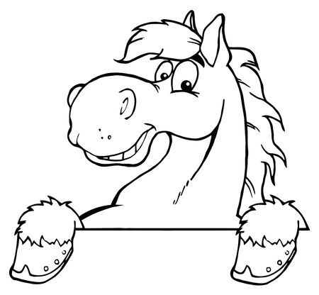 Outlined Horse Mascot Cartoon Head  矢量图像