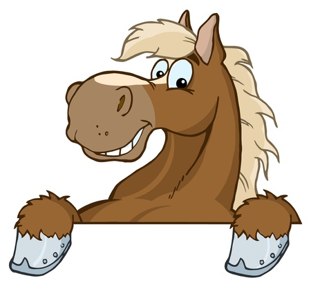 Horse Mascot Cartoon Head  Stock Vector - 9721381