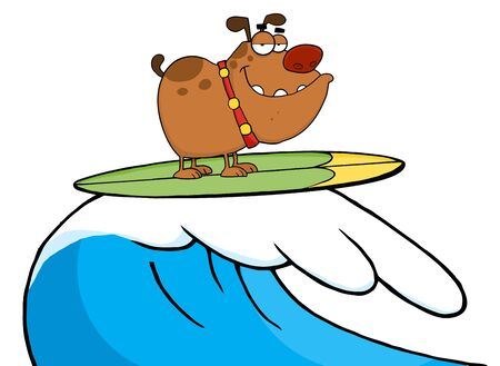 Happy Dog While Surfing-Vector Illustration