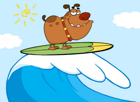 cartoon surfing: Happy Dog Surfing-Vector Illustration