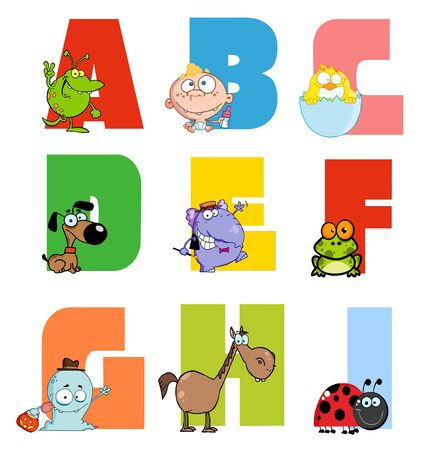 Joyful Cartoon Alphabet Collection 1 Stock Vector - 9789363