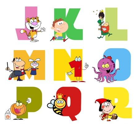 Joyful Cartoon Alphabet Collection 2  Illustration