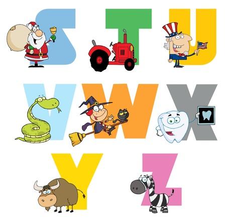 Joyful Cartoon Alphabet Collection 3 Stock Vector - 9789365