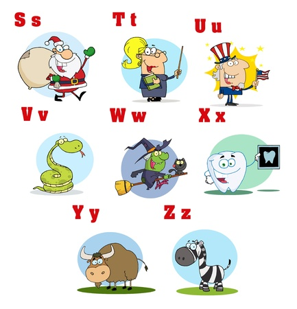 Funny Cartoon Alphabet Collection 3 Vector