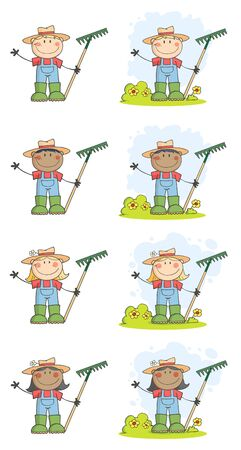 Gardening Kids Waving A Greeting Vector Collection  Vector