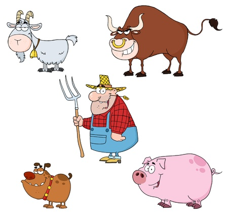 Farm Animals Cartoon Characters With Farmer Set  Stock Vector - 9789360
