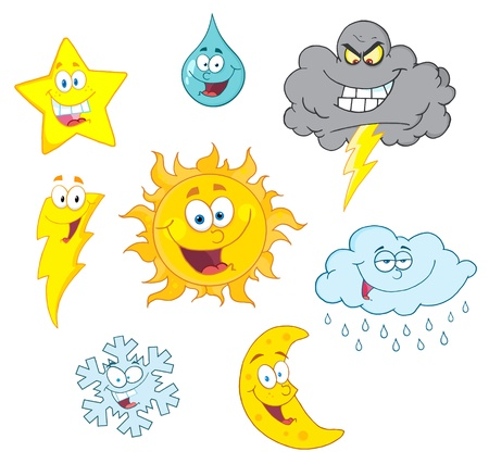 Cartoon Weather Symbols Raster Collection Stok Fotoğraf - 9789361