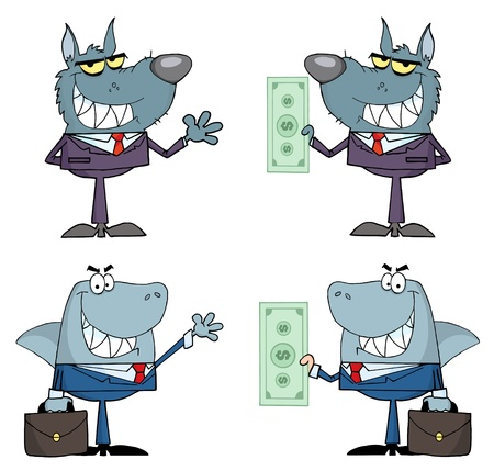 Animals Businessmen Cartoon Characters Raster Collection  Illustration