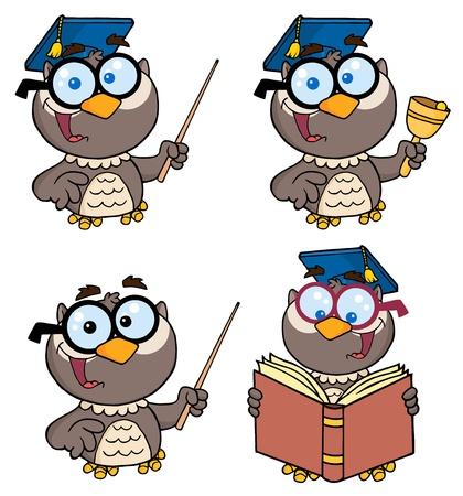 voortgezet onderwijs: Owl leraar-Vector collectie  Stock Illustratie
