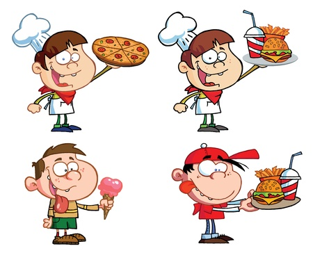 hungry kid: Kids With Fast Food-Vector Collection