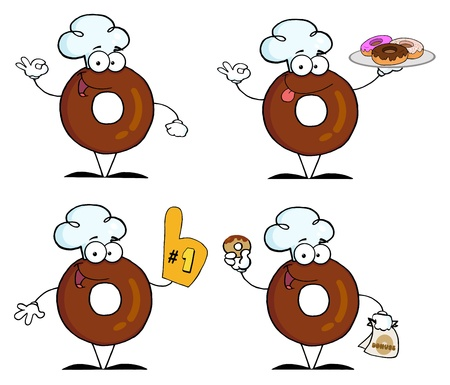 Donuts Cartoon Character-Vector Collection  Vector