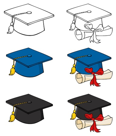 Graduation Caps-Vector Collection  Ilustracja