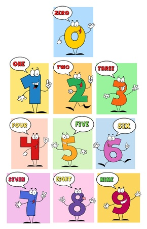 5 6: Funny Friendly Comics Numbers-Vector Collection