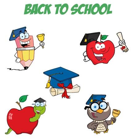 Collection de caractère-vecteur pour le Cartoon graduation  Banque d'images - 9789440