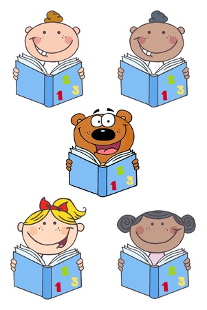 kids reading book: Kids and Bear Reading A Book-Vector Collection  Illustration
