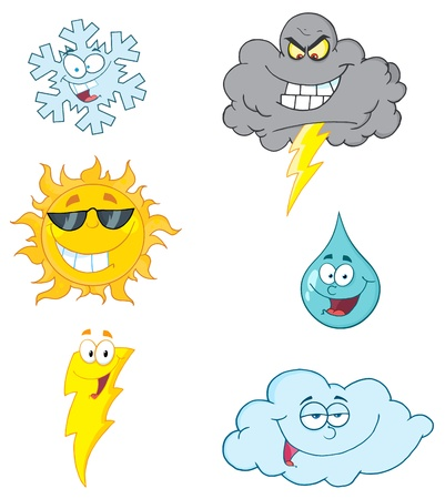 Wetter Symbole Cartoon Charakter-Vector Collection  Stockfoto - 9789438