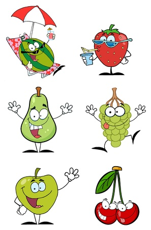 Funny Fruits Cartoon Character-Vector Collection  Illustration
