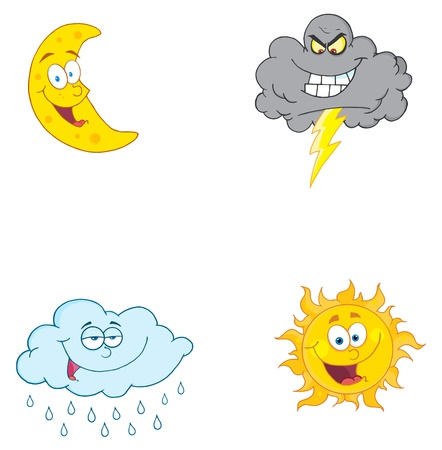 rain cartoon: Four Weather Symbols-Vector Collection  Illustration