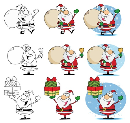 Santa Claus Cartoon Mascot Characters-Vector Collection Stock Vector - 9789466