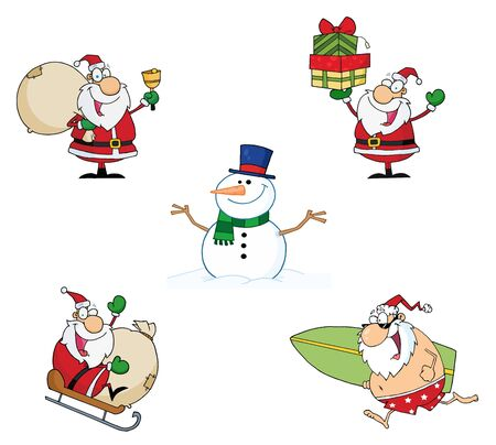 snow sled: Christmas Cartoon Characters-Vector Collection