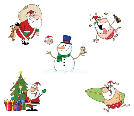 christmas greeting: Holidays Cartoon Characters-Vector Collection