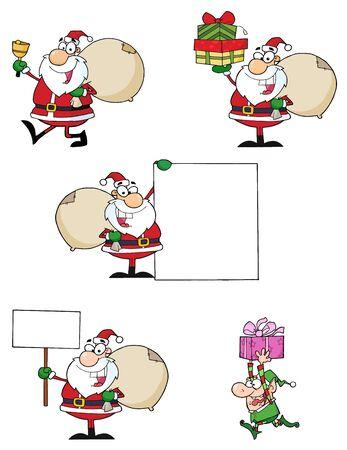 Santa Claus Cartoon Characters-Vector Collection Banco de Imagens - 9789463